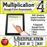 Multiplication Google Form Assessments 2x2 4th grade Math