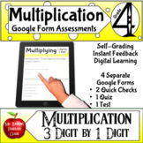 Multiplication Google Form Assessments 3x1 4th grade Math