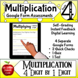 Multiplication Google Form Assessments 4x1 4th grade Math