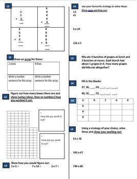 Multiplication Grade 1, 2, 3, 4, 5 & 6 Pre Post Test CCSS & Australian Curric