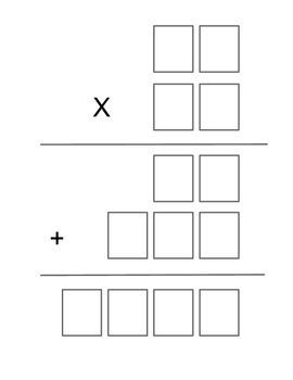 Multiplication Graphic Organizer 2 & 3 Digits x 2 digit number
