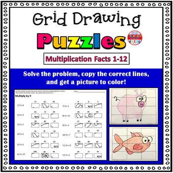 Multiplication Activity: Grid Drawing Math Worksheets