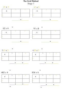 Multiplication: Grid Method PowerPoint and Problem Worksheets