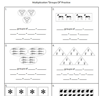 """Multiplication """"Groups Of"""" Practice Page"""