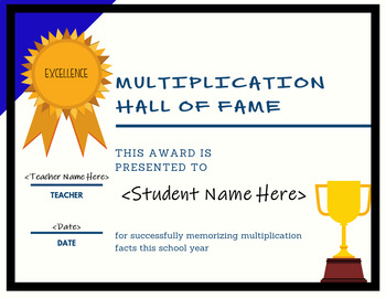 Multiplication Hall of Fame Certificate (EDITABLE) -- THIRD GRADE