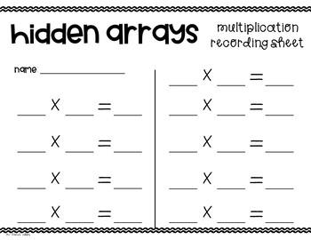 Multiplication Hidden Arrays Activity
