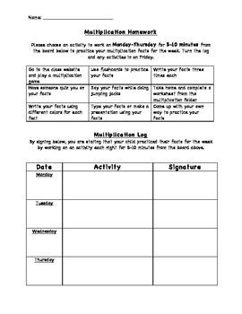Multiplication Homework