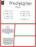 Multiplication Homework/Classwork - Grade 5, 2 x 3 digit, 10 problems