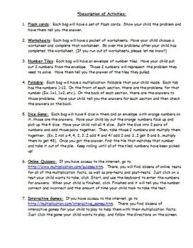 Multiplication Homework Pack