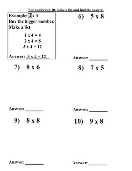 Multiplication Homework Strategies
