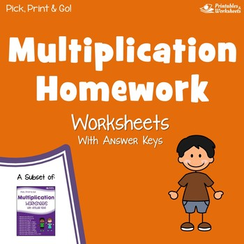 Multiplication Homework Worksheets with Answer Keys