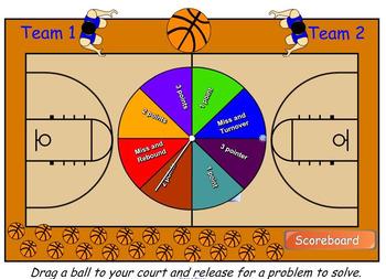Math Multiplication Basketball Smart Board game (3 digits x 1 digit)