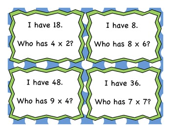 Multiplication I Have Who Has