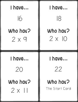 Multiplication I Have - Who Has Game