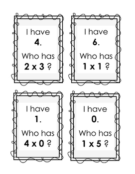 Multiplication I Have, Who Has - Single Digit Multiplication