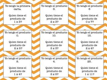 Multiplication I Have Who Has Spanish
