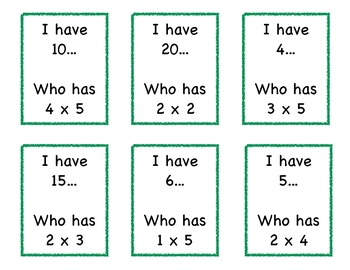 Multiplication Game: I Have…Who Has