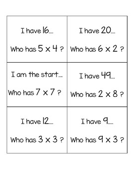 "Multiplication ""I have, Who Has"" Game"