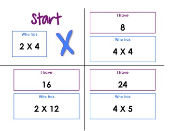 Multiplication I have, Who has - Complete Set!