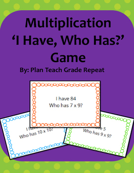 Multiplication 'I have, Who has?' Game
