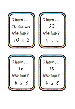 I Have, WhoHas? Multiplication 0-10 #betterthanchocolate