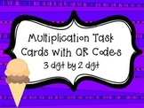 Multiplication Ice Cream Cones Task Cards with QR Codes {3 digit by 2 digit}