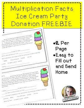 Multiplication Ice Cream Party Volunteers/Donations Note