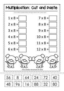Multiplication (In Order) Cut and Paste Math Worksheets ...