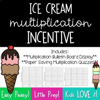 Multiplication Incentive Bulletin Board--Ice Cream Scoops**FREEBIE**