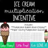 Multiplication Incentive Bulletin Board--Ice Cream Scoops and Quiz Template
