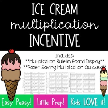 Multiplication Incentive Bulletin Board--Ice Cream Scoops*