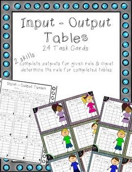 Multiplication Input Output Tables Task Cards