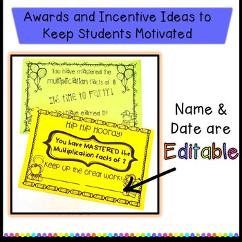 Multiplication fact Incentive-awards, flash cards, worksheets