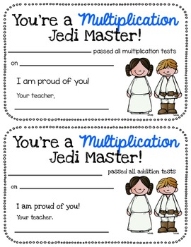 Multiplication Jedi Masters-fact fluency packet