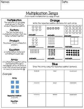 Multiplication Jenga Math Game: Using Arrays and Repeated Addition
