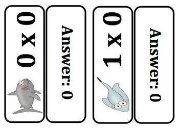 Multiplication Key Ring Flash Cards (Ocean Themed)