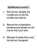 Multiplication Lunch Game