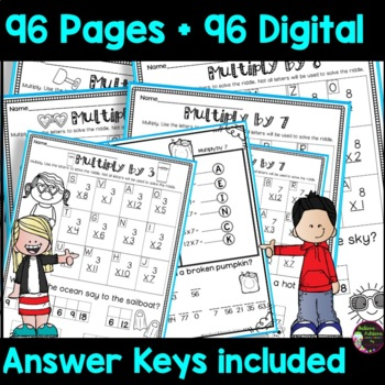 Multiplication BUNDLE (Facts 1's-12's) with Jokes (8 sets!)