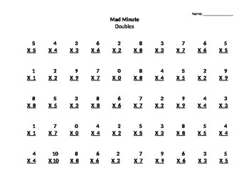 Multiplication Mad Minutes
