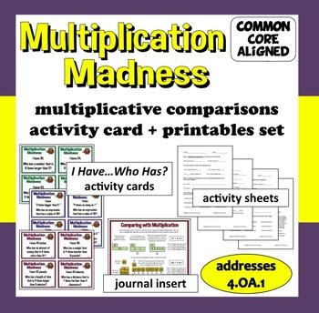 "Multiplication Madness ""I Have...Who Has?"" cards + printables set"