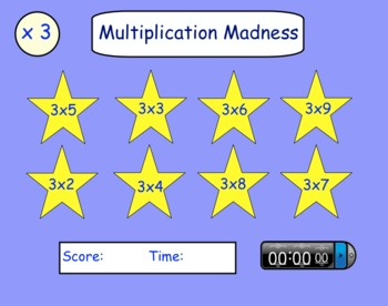 Multiplication Madness Interactive SMARTboard Activity