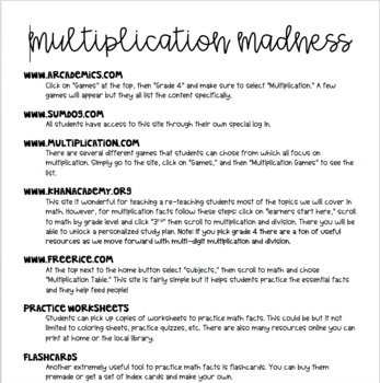 Multiplication Madness: Resources, Tricks, and Songs