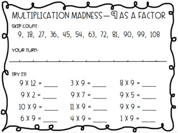 Multiplication Madness Skip Counting Practice Packet