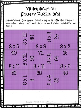 Multiplication Madness: Square Puzzles for Basic Fact Practice
