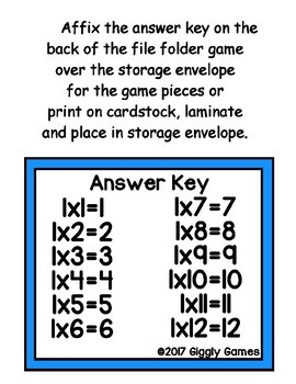 Multiplication Magic Multiplying by 1s File Folder Game
