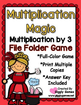 Multiplication Magic Multiplying by 3s File Folder Game