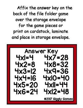 Multiplication Magic Multiplying by 4s File Folder Game
