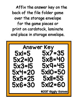 Multiplication Magic Multiplying by 5s File Folder Game