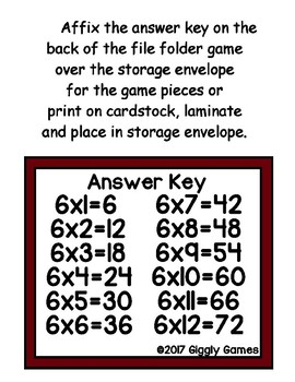 Multiplication Magic Multiplying by 6s File Folder Game