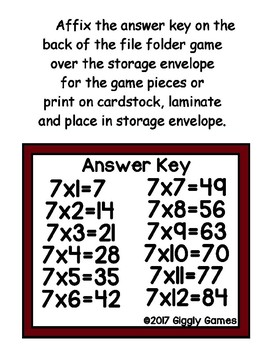 Multiplication Magic Multiplying by 7s File Folder Game